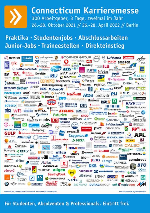 Plakat mit Firmen der Karrieremesse 2021